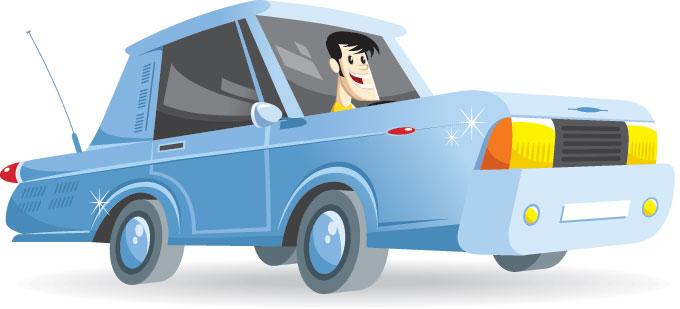Ilustración de un hombre conduciendo un coche azul.